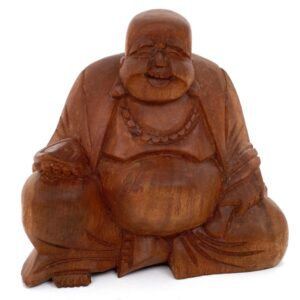 A handsome Small Brown Fat Sitting Buddha is regarded as a good luck figure. All of our buddha carvings are created by hand and therefore unique.