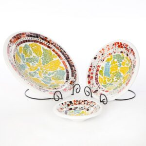 Medium Round Mosaic Bowls - Multi Colour