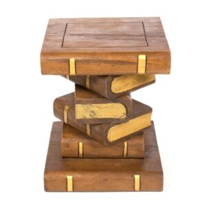 Waxed Gold Stacked Books Stool / Table