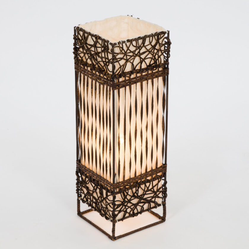 Square Woven & Twisted Wicker Lamp - 50cm