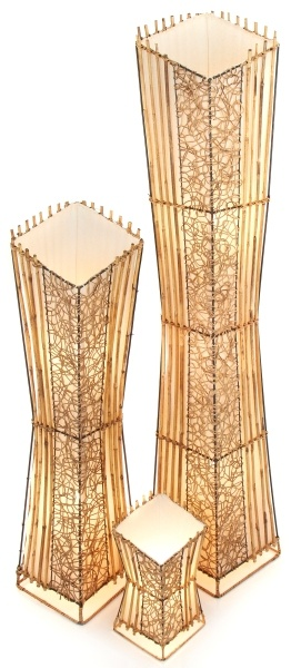 Square V Cut Top Rattan & Wicker Table Lamp - Set of 2