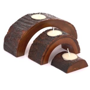 Mango Wood Half Circle Tea Light Set - Natural