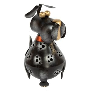 Metal Black Dog - Candle Holder