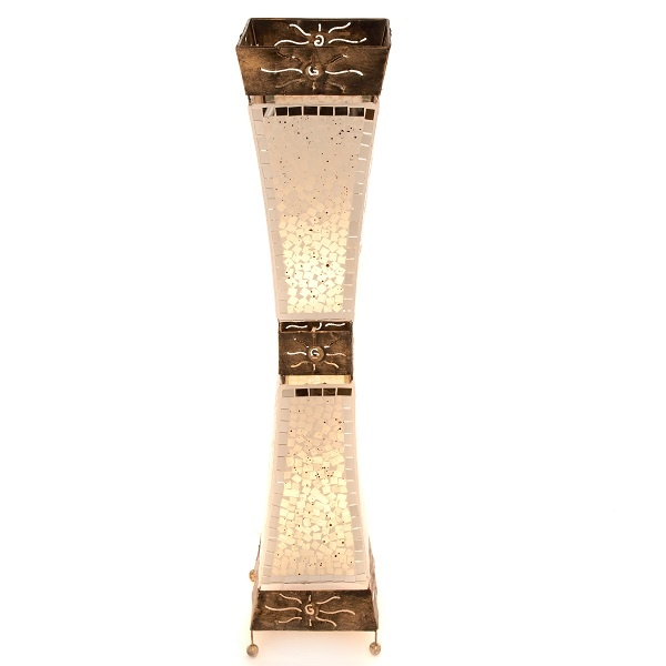White Mosaic Glass Silhouette Floor Lamp - 100cm