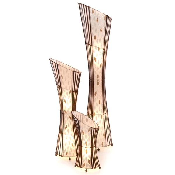 Bamboo Oval Table Lamp: Oval Sexy Bamboo & Flower Shell Floor Lamp