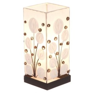 Square White Poppy Cut Shell  Lamp - 30
