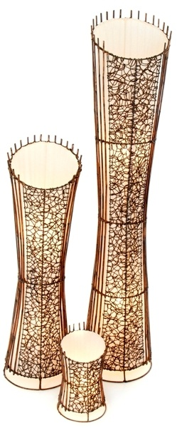 Round Rattan & Wicker Top Cut Floor Lamp - 150cm - Dark