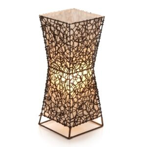 Square Woven Wicker Flare Lamp - 50