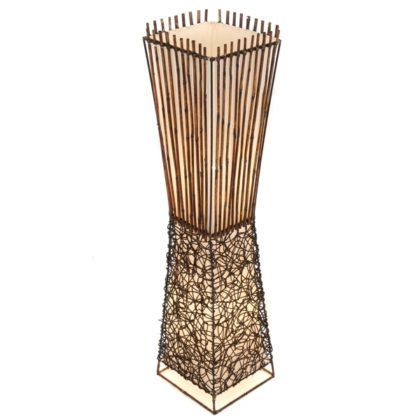 Square Half Rattan & Half Wicker Floor Lamp - 100cm