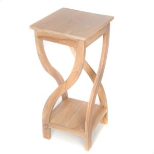 White Washed Tall Twisted Teak Table