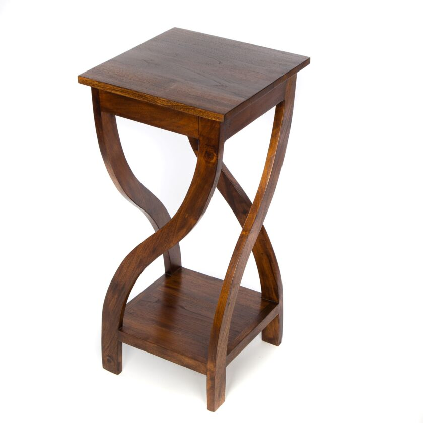 Dark Tall Twisted Teak Table
